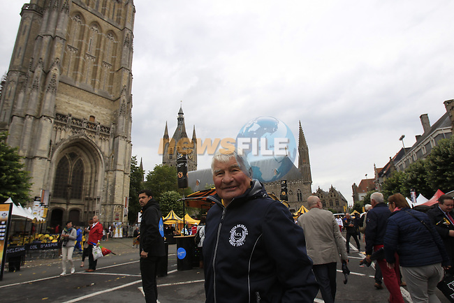 Former French Champion cyclist Raymond Poulidor in The Tour Village in Ypres before the start of the cobbled stage Stage 5 of the 2014 Tour de France running 155.5km from Ypres to Arenberg. 9th July 2014.<br /> Picture: Eoin Clarke www.newsfile.ie