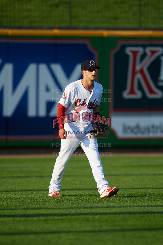 Peoria Chiefs left fielder Matt Davis (4) during a game against the West Michigan Whitecaps on May 8, 2017 at Dozer Park in Peoria, Illinois.  West Michigan defeated Peoria 7-2.  (Mike Janes/Four Seam Images)