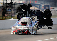 Sept. 6, 2010; Clermont, IN, USA; NHRA funny car driver Del Worsham during the U.S. Nationals at O'Reilly Raceway Park at Indianapolis. Mandatory Credit: Mark J. Rebilas-