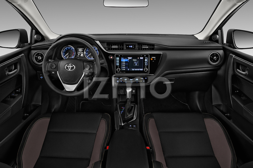 Stock photo of straight dashboard view of 2018 Toyota Corolla LE-Eco-AT 4 Door Sedan Dashboard