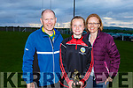 Kerry Camogie Feile Skill Star 2019 winner Ciara O'Sullivan of  the Cillard U14 Camogie team standing with her father Kevin and mom Ann.