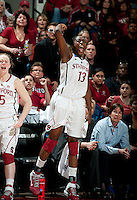 STANFORD, CA - March 21, 2011: Stanford Cardinal's Chiney Ogwumike celebrates during Stanford's 75-51 win over St. John's during the second round of the NCAA tournament at Maples Pavilion in Stanford, California.