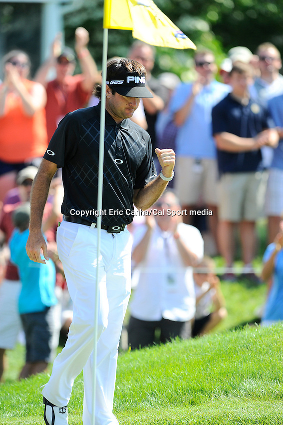 June 23, 2013 - Cromwell, Connecticut, U.S. - Bubba Watson pumps his fist after chipping the ball from the edge of the 9th green into the cup during the fourth round of the PGA 2013 Travelers Championship held at TPC River Highland in Cromwell Connecticut. Watson who started the day in a three way tie for first place ended the tournament in 4th place shooting 10- under par 270.   Eric Canha/CSM