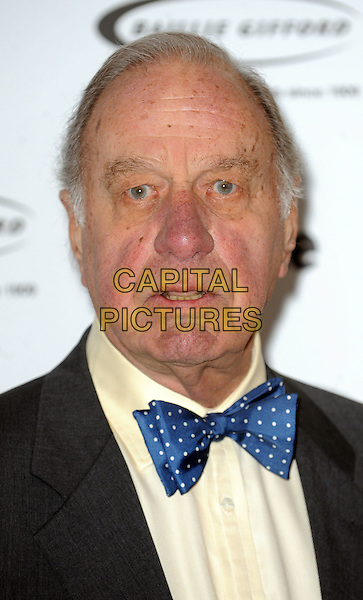 Geoffrey Palmer.The Oldie Of The Year Awards 2012 at Simpsons On The Strand, London, England..7th February 2012.headshot portrait black white  blue polka dot tie.CAP/WIZ.© Wizard/Capital Pictures.