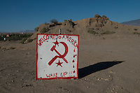 A sign on the road near Bunkerville, Nevada expresses the opinion of those allied with Cliven Bundy.<br />