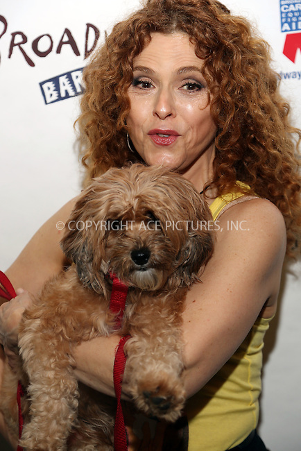 www.acepixs.com<br /> <br /> July 30 2016, New York City<br /> <br /> Actress Bernadette Peters poses with her dog at the 18th annual 'Broadway Barks!' animal adpotion event at Shubert Alley on July 30 2016 in New York City<br /> <br /> By Line: Serena Xu/ACE Pictures<br /> <br /> <br /> ACE Pictures Inc<br /> Tel: 6467670430<br /> Email: info@acepixs.com<br /> www.acepixs.com