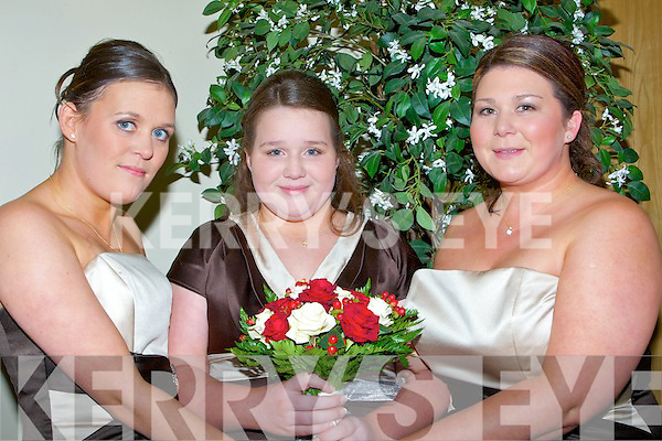 Bridesmaids at Rose Kenny and John Paul Doyle's wedding in Ballyroe Hotel, Tralee on Friday L-r: Nikki McClusky, Donna King and Mary McCarthy........... . ............................... ..........