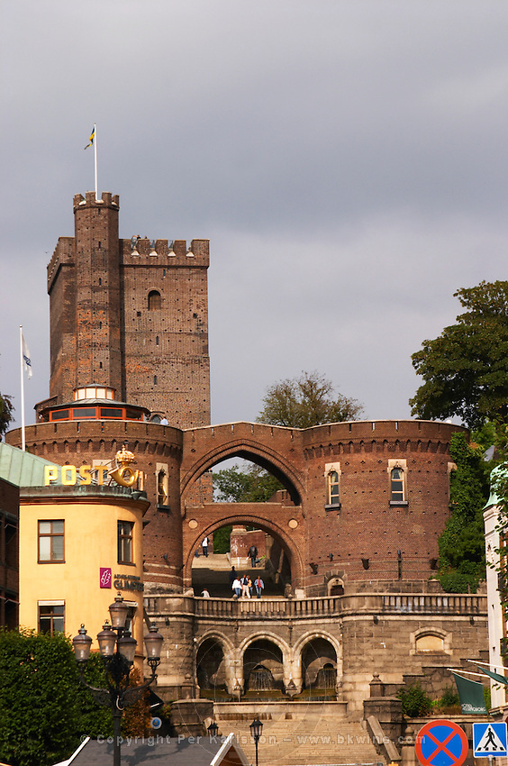 The Kärnan medieval tower. Terrastrapporna or Oscar Trapp, Oscar's stairs on Hamntorget. Helsingborg, Skane, Scania. Sweden, Europe.