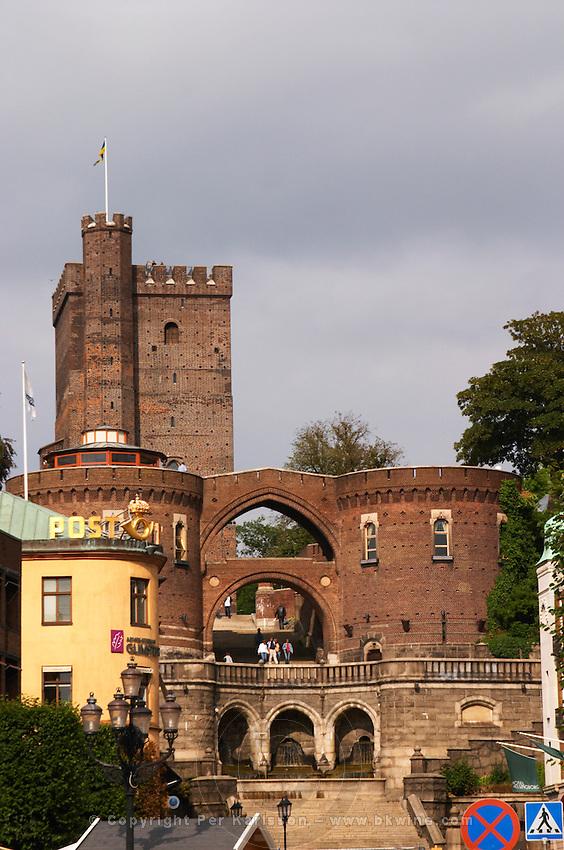 The Kärnan medieval tower. Terrastrapporna or Oscar Trapp, Oscar's stairs on Hamntorget. Helsingborg, Skane, Scania. Sweden, Europe.