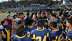 WATERBURY, CT - 23 NOVEMBER 2017 -112317JW11.jpg -- Kennedy High School coach Chris Sarlo celebrates with his team after beating Crosby 7-6 during their Thanksgiving Day Game at Municipal Stadium.  Jonathan Wilcox Republican-American
