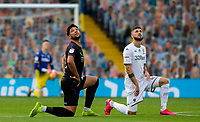Players look up to see a drone flying overhead, while taking the knee<br /> <br /> Photographer Alex Dodd/CameraSport<br /> <br /> The EFL Sky Bet Championship - Leeds United v Charlton Athletic - Wednesday July 22nd 2020 - Elland Road - Leeds <br /> <br /> World Copyright © 2020 CameraSport. All rights reserved. 43 Linden Ave. Countesthorpe. Leicester. England. LE8 5PG - Tel: +44 (0) 116 277 4147 - admin@camerasport.com - www.camerasport.com