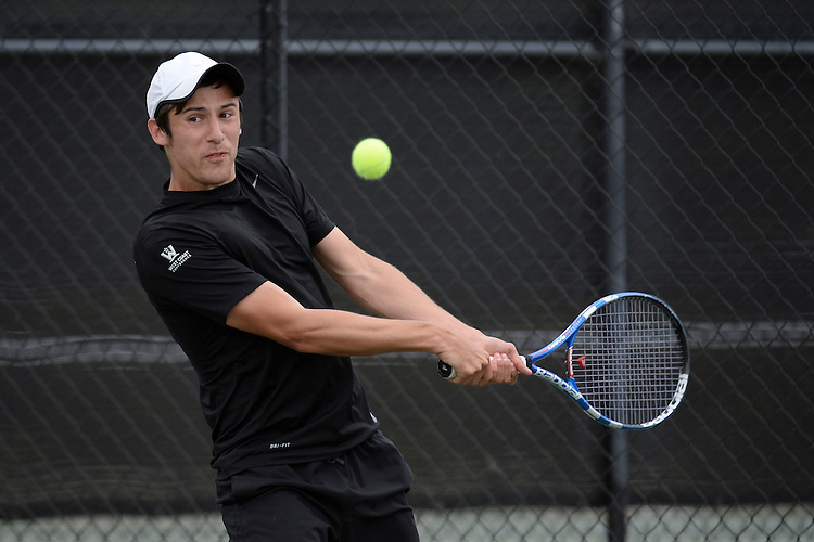 April 24, 2013; San Diego, CA, USA; Portland Pilots player Jackson Martin during the WCC Tennis Championships at Barnes Tennis Center.