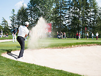 Julian Suri (USA) in action from the bunker on the 5th hole during second round at the Omega European Masters, Golf Club Crans-sur-Sierre, Crans-Montana, Valais, Switzerland. 30/08/19.<br /> Picture Stefano DiMaria / Golffile.ie<br /> <br /> All photo usage must carry mandatory copyright credit (© Golffile | Stefano DiMaria)
