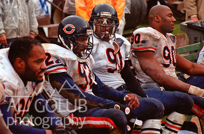 San Francisco 49ers vs. Chicago Bears at Candlestick Park Saturday, January 7, 1995.  49ers beat Bears 44-15.  Chicago Bears defensive end Albert Fontenot (96), linebacker Barry Mitner (92), Myron Baker (91) and defensive end Alonzo Spellman (90).