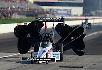 Aug 31, 2014; Clermont, IN, USA; NHRA top fuel dragster driver Morgan Lucas during qualifying for the US Nationals at Lucas Oil Raceway. Mandatory Credit: Mark J. Rebilas-USA TODAY Sports
