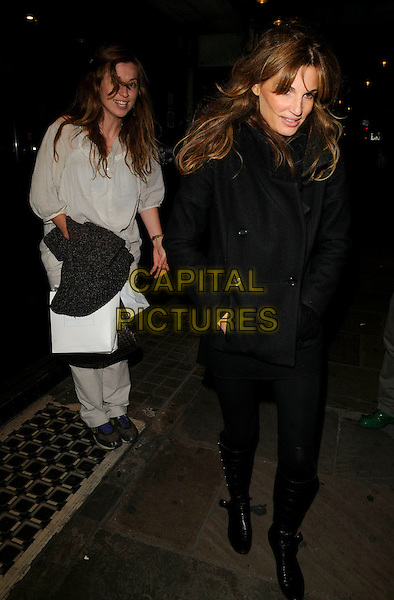 "DAISY DONOVAN & JEMIMA KHAN .The ""Riflemind"" press night afterparty, K Bar, Upper St. Martin's Lane, London, England..September 18th, 2008 .full length black tights coat jacket boots white cream top.CAP/CAN.©Can Nguyen/Capital Pictures."
