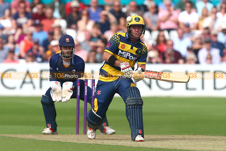Colin Imgram in batting action for Gamorgan as James Foster looks on from behind the stumps during Essex Eagles vs Glamorgan, NatWest T20 Blast Cricket at The Cloudfm County Ground on 16th July 2017