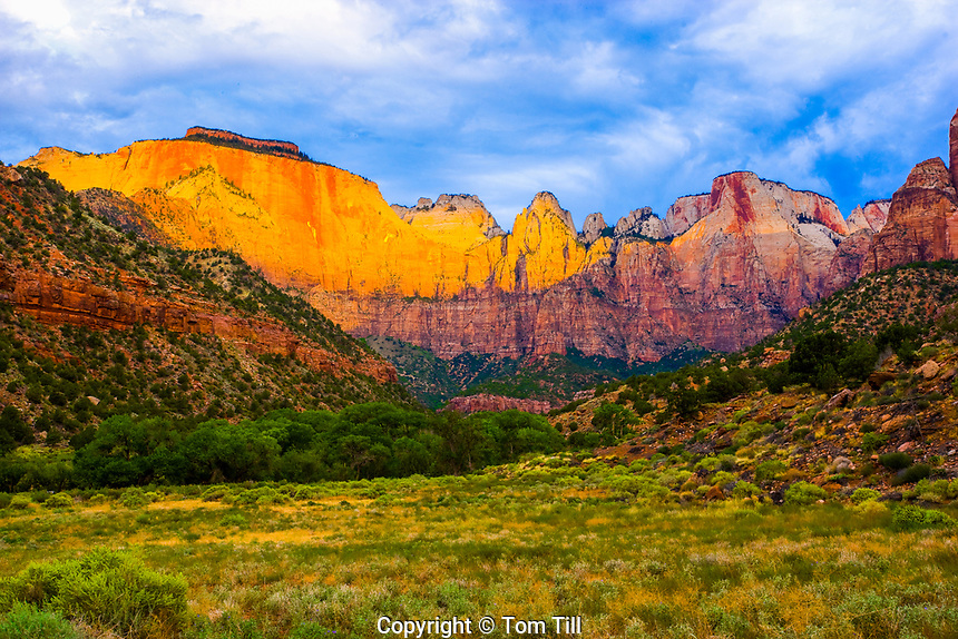"Sunrise on Zion Peaks, ZIon National Park, Utah, West Temple, Altar of Sacrifice and other spires, ""Towers of the Virgin"""