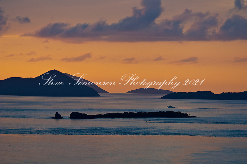 Sunset over St Thomas<br /> and Pillsbury Sound<br /> U.S. Virgin Islands