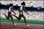 100m, women, Gail Devers (USA) and Juliet Cuthbert (Jamaica), Summer Olympics, Barcelona, Spain, August 1992