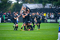 Team Wellington's Andy Bevin celebrates his goal during the Oceania Football Championship final (first leg) football match between Team Wellington and Lautoka FC at David Farrington Park in Wellington, New Zealand on Sunday, 13 May 2018. Photo: Mike Moran / lintottphoto.co.nz