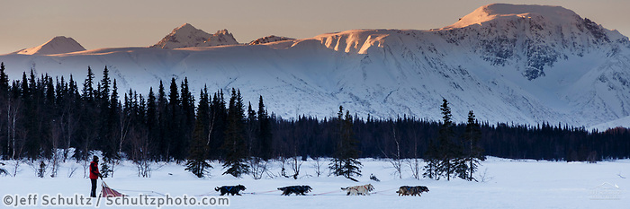 Recreational dog mushing at winterlake lodge on Finger Lake in Southcentral, Alaska. Winter. Alaska Range<br /> <br /> Photo by Jeff Schultz/SchultzPhoto.com  (C) 2018  ALL RIGHTS RESERVED