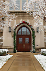 January 4, 2020; Entrance of the Eck Hall of Law after a snowfall.  (Photo by Barbara Johnston/University of Note Dame)