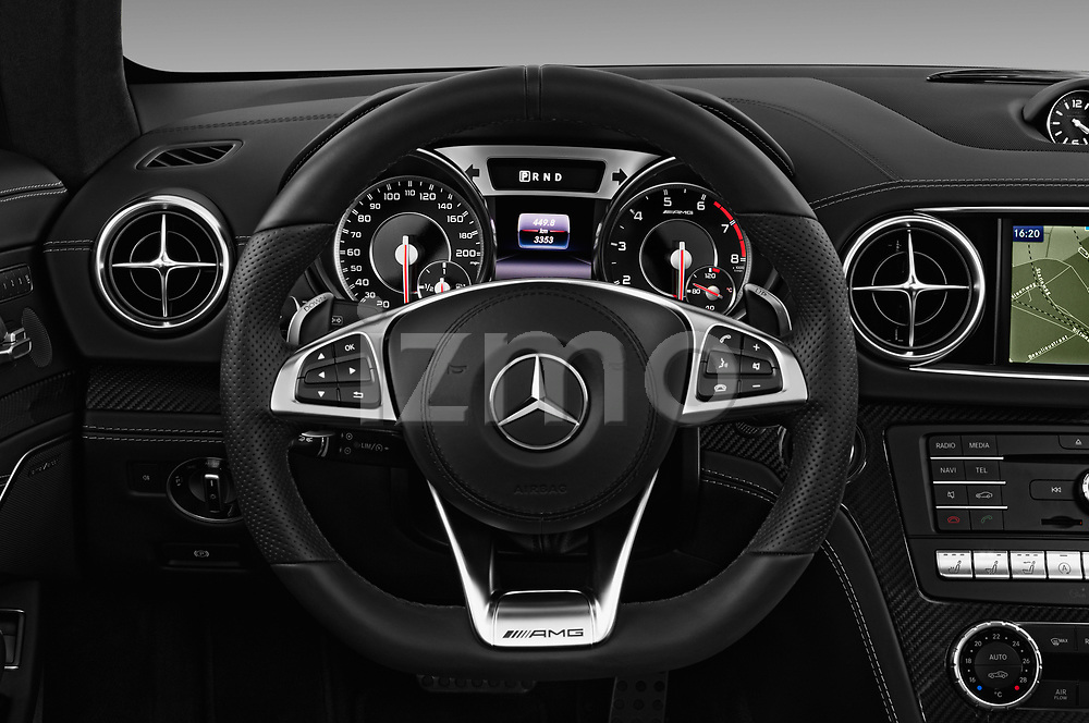 Car pictures of steering wheel view of a 2017 Mercedes Benz SL AMG 63 2 Door Convertible