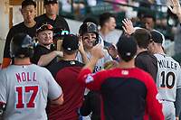 Salt River Rafters first baseman Tyler Nevin (2), of the Colorado Rockies organization, is congratulated by his teammates in the dugout after scoring a run during an Arizona Fall League game against the Mesa Solar Sox at Sloan Park on October 30, 2018 in Mesa, Arizona. Salt River defeated Mesa 14-4 . (Zachary Lucy/Four Seam Images)