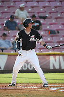 Bryce Johnson (6) of the Salem-Keizer Volcanoes bats against the Eugene Emeralds at Volcanoes Stadium on July 24, 2017 in Keizer, Oregon. Eugene defeated Salem-Keizer, 7-6. (Larry Goren/Four Seam Images)