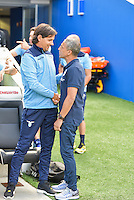 Chris Hughton manager of Brighton & Hove Albion (right) and Simone Inzaghi manager of Lazio (left)  during the Friendly match between Brighton and Hove Albion and Lazio at the American Express Community Stadium, Brighton and Hove, England on 31 July 2016. Photo by Edward Thomas / PRiME Media Images.