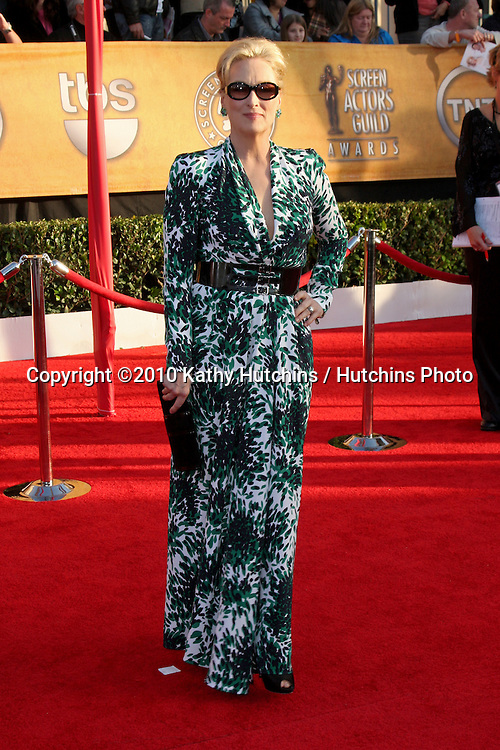 Meryl Streep.arriving at the 2010 Screen Actor's Guild Awards.Shrine Auditorium.Los Angeles, CA.January 23, 2010.©2010 Kathy Hutchins / Hutchins Photo....