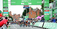 Picture by Simon Wilkinson/SWpix.com 05/09/2017 - Cycling OVO Energy Tour of Britain - Stage 4 Mansfield to Newark on Trent<br /> Finish Newark on Trent - podiums cycle fans kids finish Gaviria wins stage 4