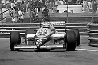 DETROIT, MI - JUNE 23: Keke Rosberg drives the Williams FW10/Honda RA164E en route to victory in the Detroit Grand Prix FIA Formula One World Championship race at the Detroit Street Circuit in Detroit, Michigan, on June 23, 1985.