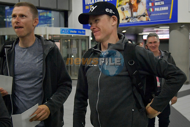 Race leader Chris Froome (GBR) and team mate Christian Knees (GER) Team Sky arrive at Aeroporto di Caselle Turin to transfer to Rome after Stage 20 of the 2018 Giro d'Italia,  Italy. 26th May 2018.<br /> Picture: LaPresse/Marco Alpozzi | Cyclefile<br /> <br /> <br /> All photos usage must carry mandatory copyright credit (© Cyclefile | LaPresse/Marco Alpozzi)