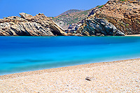 Vori beach whith the shipwreck in Andros island, Greece
