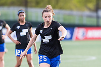 Boston, MA - Saturday April 29, 2017: Morgan Andrews during warmups before a regular season National Women's Soccer League (NWSL) match between the Boston Breakers and Seattle Reign FC at Jordan Field.