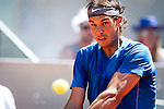 The tennis player Rafael Nadal during the match against Tomas Berdych in the Madrid Open Tennis Tournament. In Madrid, Spain, on 09/05/2014.