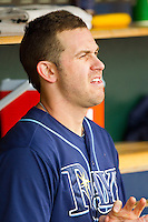 Evan Longoria (3) of the Tampa Bay Rays watches the action from the dugout during the Major League Baseball game against the Detroit Tigers at Comerica Park on June 4, 2013 in Detroit, Michigan.  The Tigers defeated the Rays 10-1.  Brian Westerholt/Four Seam Images