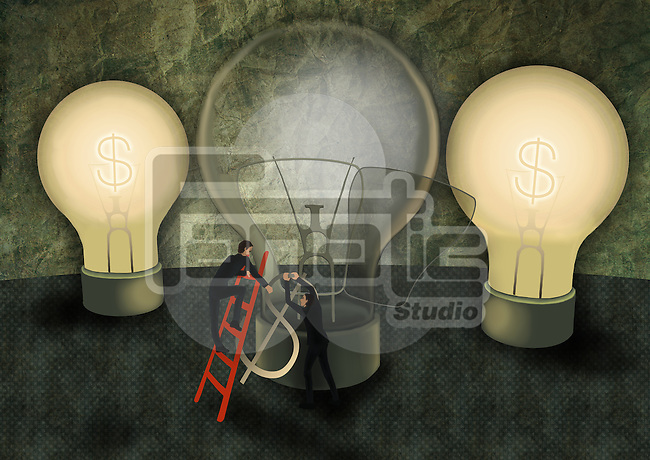 Conceptual illustration of businessmen replacing dollar shaped fuse in light bulb depicting idea generation