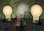 Conceptual illustration of businessmen replacing dollar shaped fuse in light bulb depicting idea generation