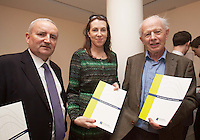 ***NO FEE PIC ***<br /> 23/04/2015<br /> (L to r) Alfie Tonge CMA CGM Ireland, Caoimhe Delaney Irish Exporters Association &amp; Howard Knott Irish Exporters Association<br /> during the  launch by the Irish Maritime Development Office (IMDO) of its Irish Maritime Transport Economist report at the Morrison Hotel , Dublin.<br /> Photo:  Gareth Chaney Collins