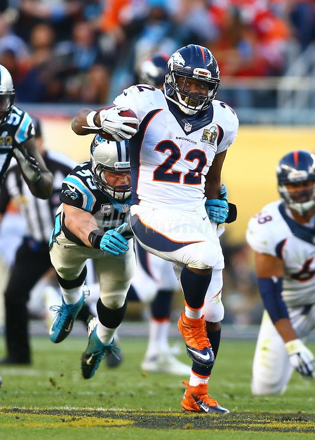 Feb 7, 2016; Santa Clara, CA, USA; Carolina Panthers linebacker Luke Kuechly (59) attempts to tackle Denver Broncos running back C.J. Anderson (22) during Super Bowl 50 at Levi's Stadium. Mandatory Credit: Mark J. Rebilas-USA TODAY Sports
