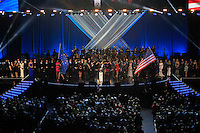 The two Ryder Cup teams and their wives on stage during the Ryder Cup Gala Concert 2014 at SSE Hydro on Wednesday 24th September 2014.<br /> Picture:  Thos Caffrey / www.golffile.ie
