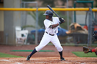 Lakeland Flying Tigers left fielder Rashad Brown (4) at bat during a game against the Brevard County Manatees on August 8, 2016 at Henley Field in Lakeland, Florida.  Lakeland defeated Brevard County 6-2.  (Mike Janes/Four Seam Images)