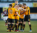 Alloa's Ryan McCord is congratulated by team mates after he scores their first goal.
