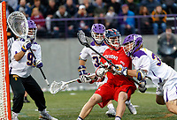 Albany's Erik Dluhy (#37) defends a Richmond attacker as  UAlbany Men's Lacrosse defeats Richmond 18-9 on May 12 at Casey Stadium in the NCAA tournament first round.