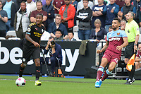 Raheem Sterling of Manchester City and Ryan Fredericks of West Ham United during West Ham United vs Manchester City, Premier League Football at The London Stadium on 10th August 2019