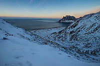 Winter view over Uttakleiv beach from Mannen, Vestvågøy, Lofoten Islands, Norway
