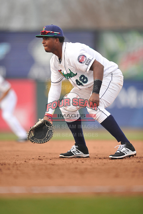 Cedar Rapids Kernels first baseman Lewin Diaz (48) in action during a game against the Beloit Snappers at Veterans Memorial Stadium on April 8, 2017 in Cedar Rapids, Iowa.  The Snappers won 7-6.  (Dennis Hubbard/Four Seam Images)